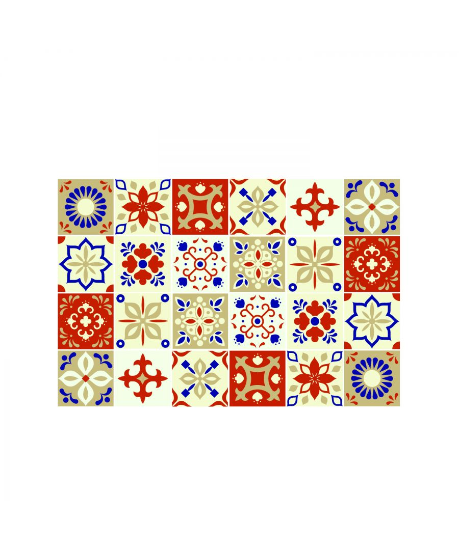 Image for Bahia Burnt Orange and Beige Moroccan Wall Tile Sticker Set - 15 x 15 cm (6 x 6 in) - 24 pcs, DIY Art, Home Decorations, Decals, Kitchen Decor, Bathroom Ideas