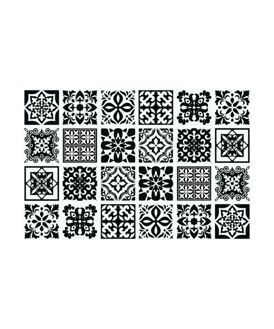 Image for Calli Black and White Mediterranean Wall Tile Sticker Set - 15 x 15 cm (6 x 6 in) - 24 pcs, DIY Art, Home Decorations, Decals, Kitchen Decor, Bathroom Ideas