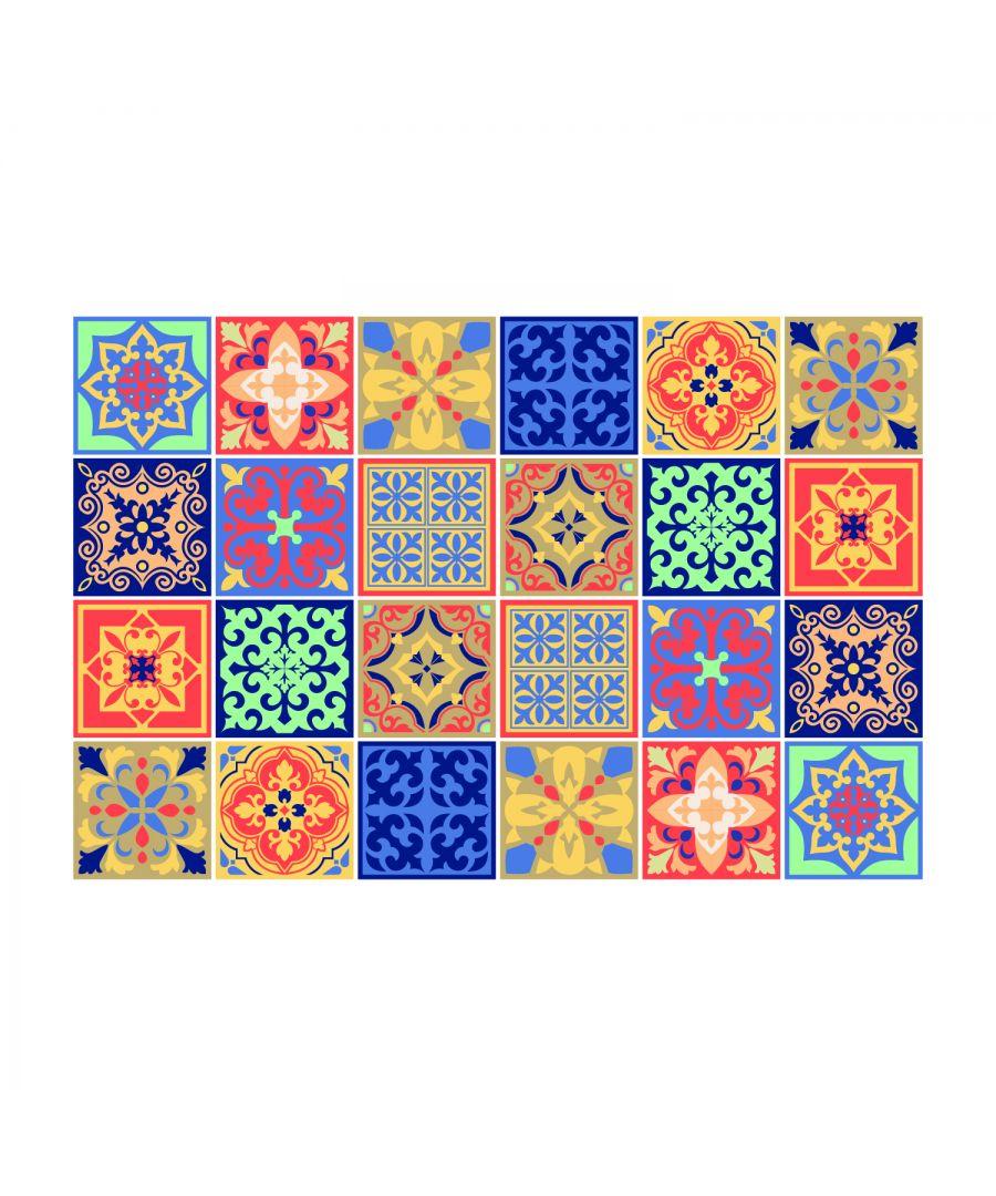 Image for Mara Colourful Mix Mediterranean Wall Tile Sticker Set - 15 x 15 cm (6 x 6 in) - 24 pcs, DIY Art, Home Decorations, Decals, Kitchen Decor, Bathroom Ideas