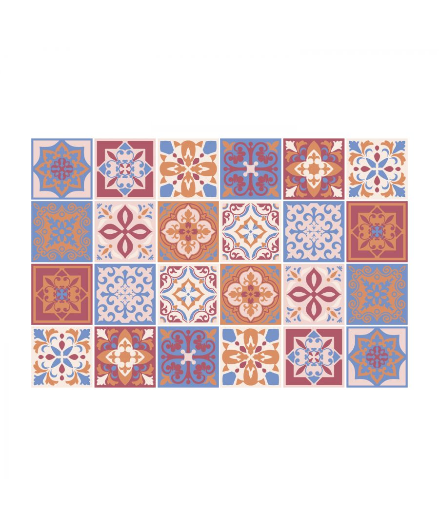 Image for Lina Dusty Brown and Blue Mediterranean Wall Tile Sticker Set - 15 x 15 cm (6 x 6 in) - 24 pcs, DIY Art, Home Decorations, Decals, Kitchen Decor, Bathroom Ideas