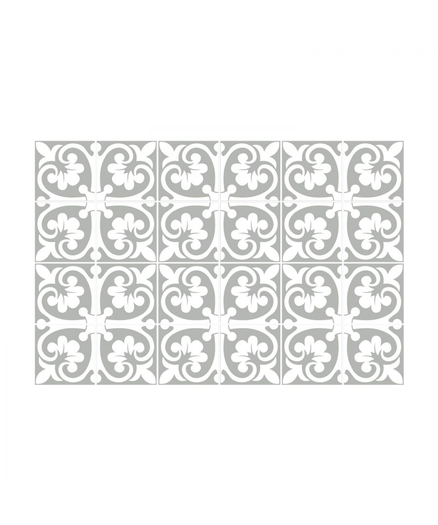 Image for Abbie Monocromatic Light Grey Victorian Wall Tile Sticker Set - 15 x 15 cm (6 x 6 in) - 24 pcs, DIY Art, Home Decorations, Decals, Kitchen Decor, Bathroom Ideas