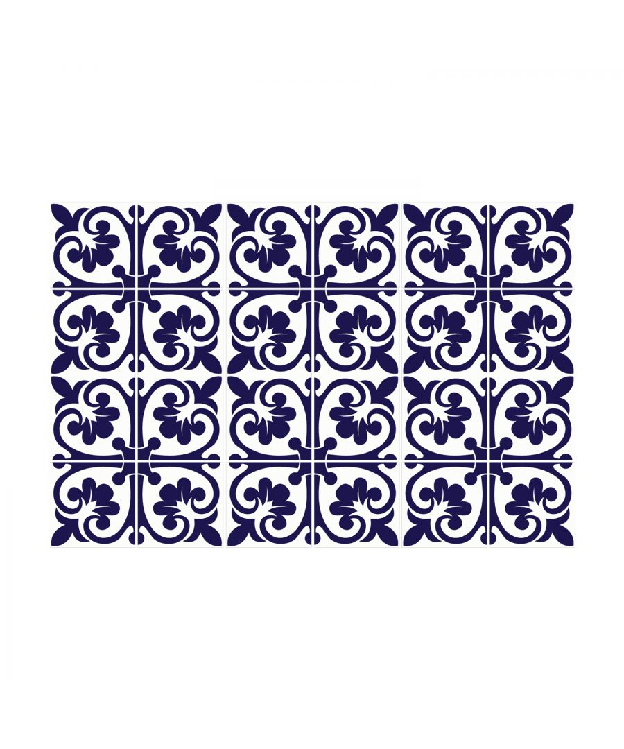 Image for Betsy Monocromatic Dark Blue Victorian Wall Tile Sticker Set - 15 x 15 cm (6 x 6 in) - 24 pcs, DIY Art, Home Decorations, Decals, Kitchen Decor, Bathroom Ideas