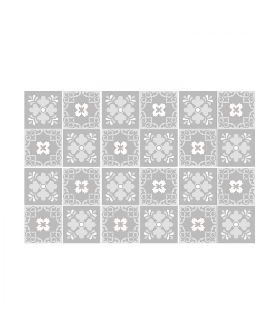 Image for Ginnie Floral Light Grey Victorian Wall Tile Sticker Set - 15 x 15 cm (6 x 6 in) - 24 pcs, DIY Art, Home Decorations, Decals, Kitchen Decor, Bathroom Ideas