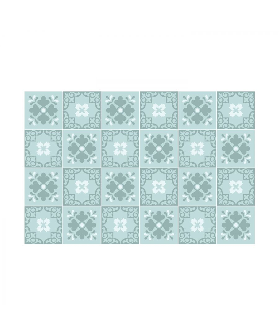 Image for Jan Floral Light Blue Victorian Wall Tile Sticker Set - 15 x 15 cm (6 x 6 in) - 24 pcs, DIY Art, Home Decorations, Decals, Kitchen Decor, Bathroom Ideas