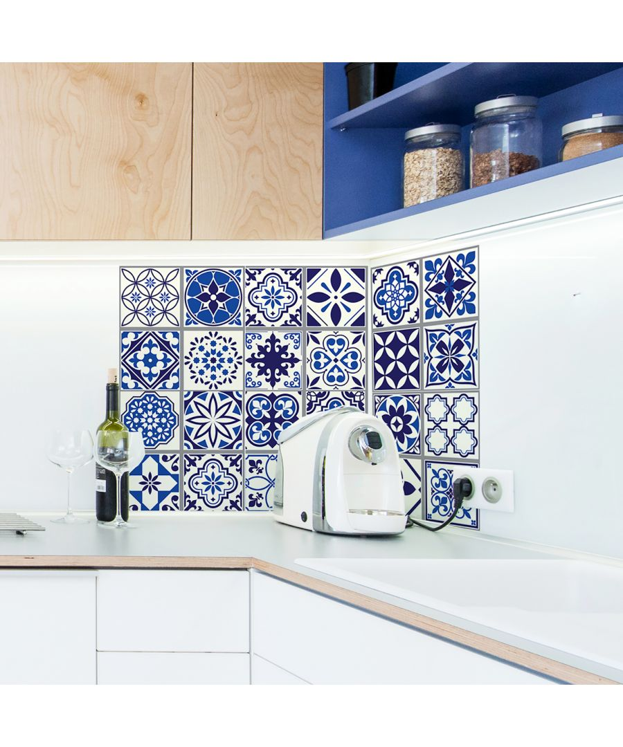 Image for WT2001 - Spanish & Moroccan Blue Tiles Wall Stickers Mix - 20 cm  x 20 cm - 12 pcs.