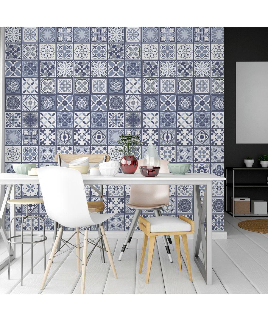 Image for WT2003 - Lisbon Blue Tiles Wall Stickers - 20 cm x 20 cm - 12 pcs.