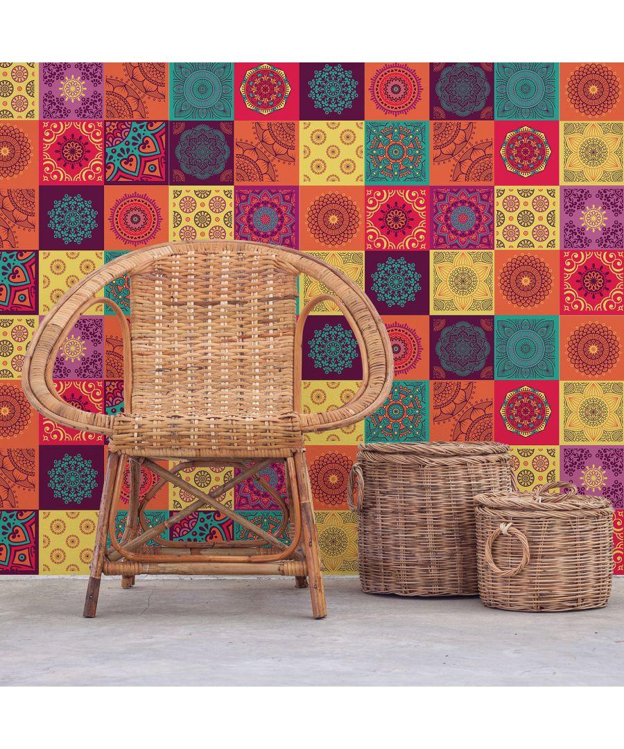 Image for WT2009 - Colourful Mandala Tiles Wall Stickers - 20 cm x 20 cm - 12pcs
