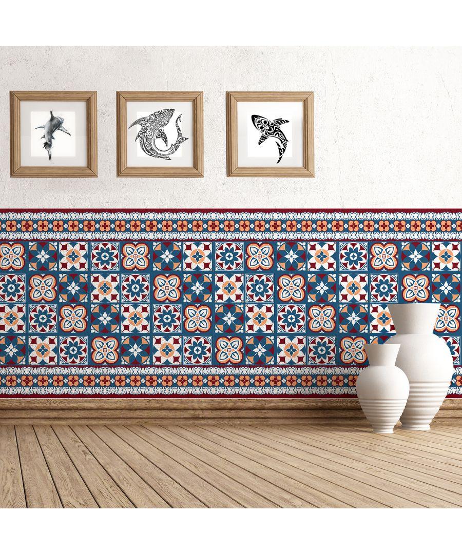 Image for WT2011 - Red & Blue Talavera Tiles - 20 cm x 20 cm - 12pcs.
