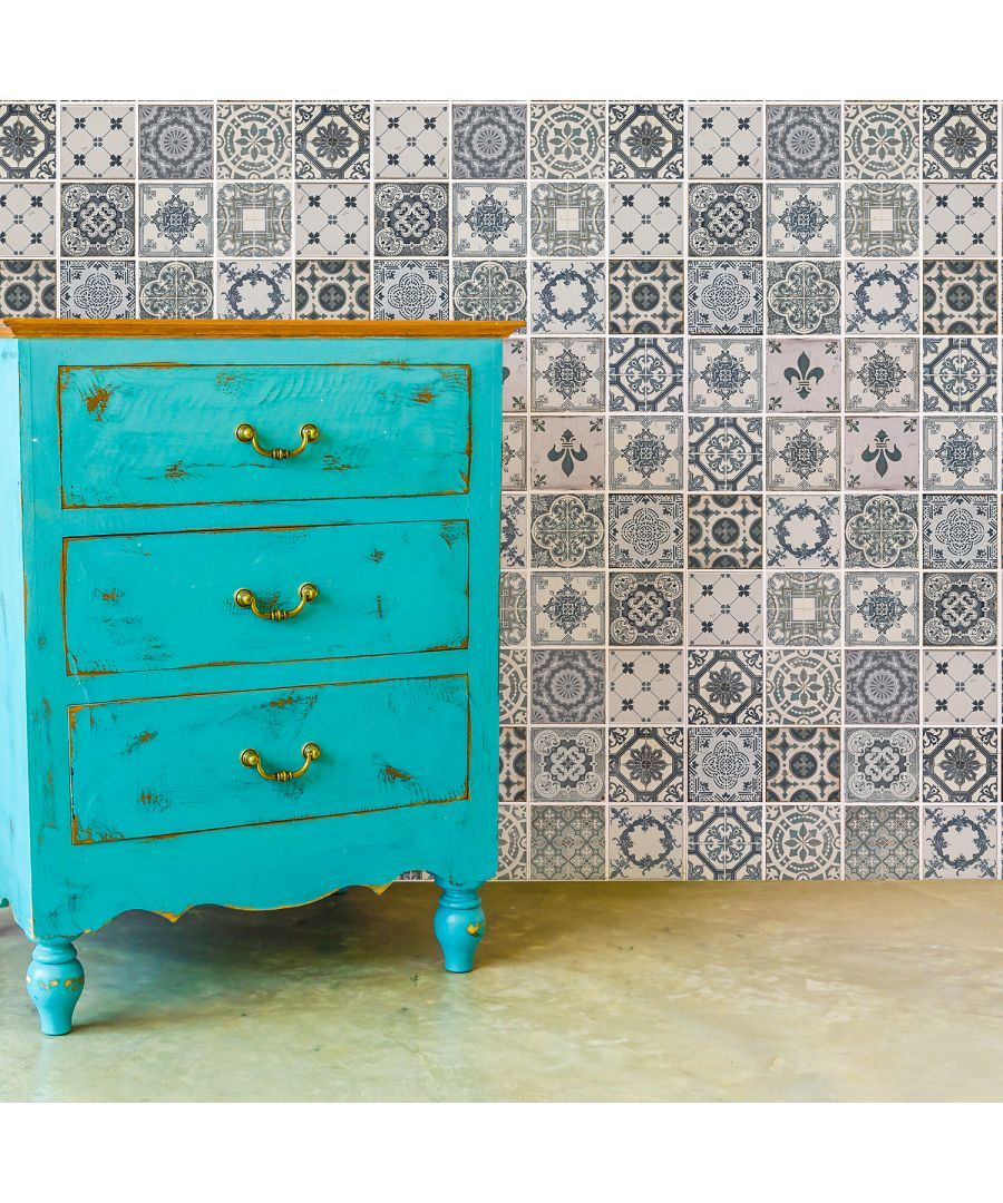 Image for WT2012 - Vintage Blue Azulejo Tiles Wall Stickers - 20 x 20 cm - 12 pcs.