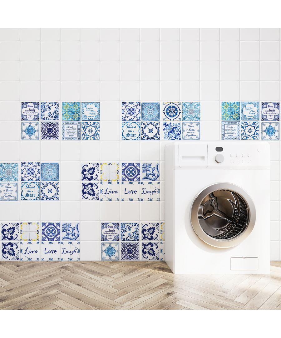 Image for WT2013 - English Quote Vintage Blue Tile Sticker - 20 cm x 20 cm - 12 pcs