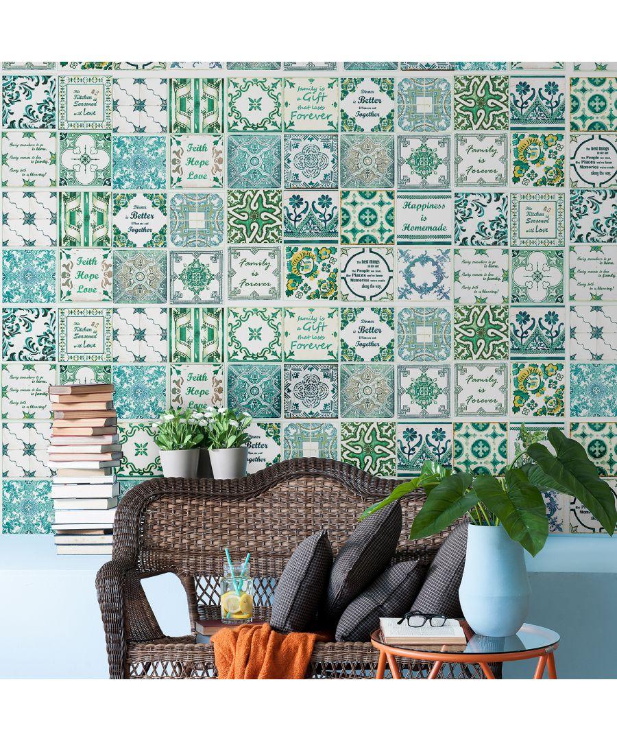 Image for WT2015 - English Quote Vintage Green Tile Sticker - 20 cm x 20 cm - 12 pcs