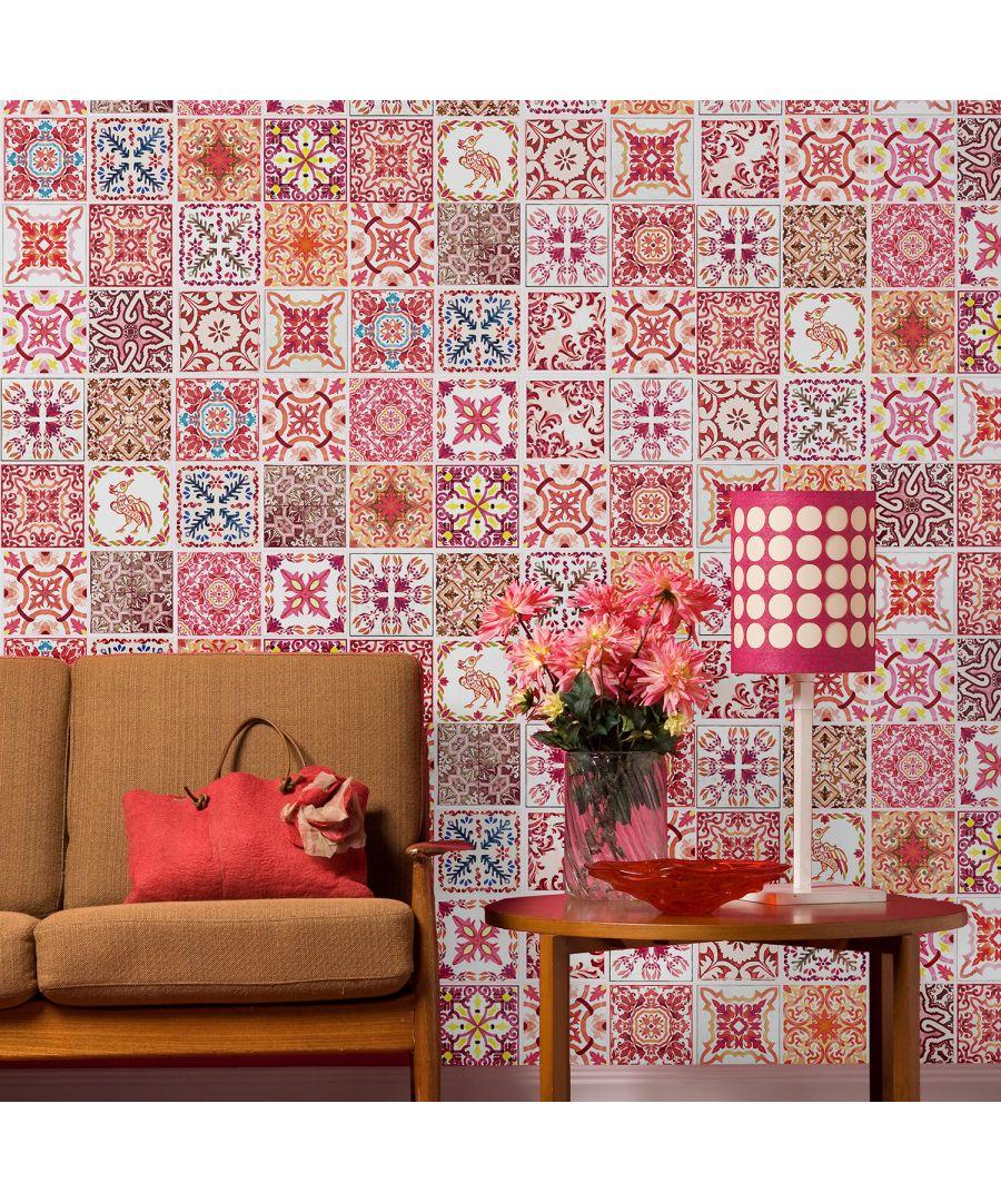 Image for WT2018 - Moroccan Rose Red Mosaic Tile Sticker - 20 cm x 20 cm - 12 pcs