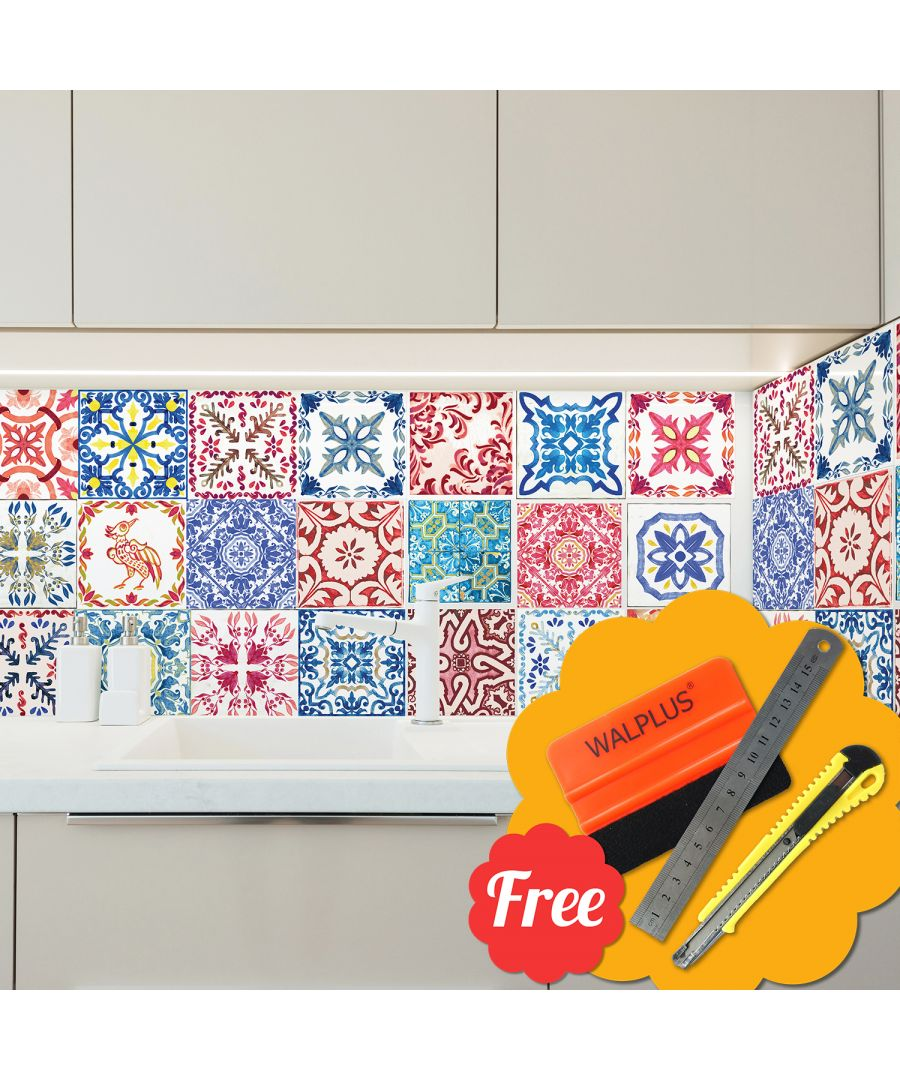 Image for Moroccan Red & Blue Mosaic Tile Wall Stickers 48pcs 15cm x 15cm