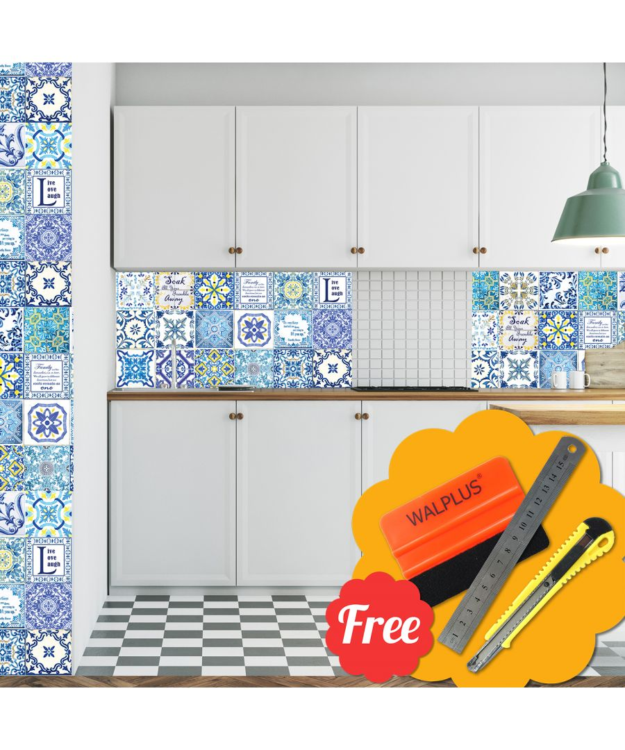 Image for English Family Kitchen  Quote Mosaic Tile Stickers 48pcs 15cm x 15cm