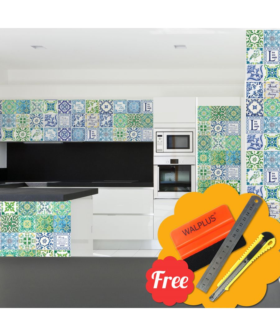 Image for Medditeranean Green & Blue English Quote Mosaic Tile Stickers 48pcs 15cm x 15cm