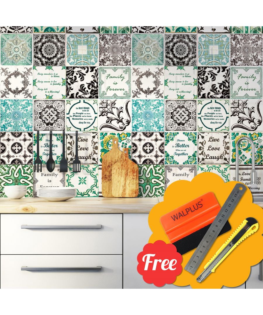 Image for English mix French Mosaic Tile Wall Stickers 72pcs 15cm x 15cm