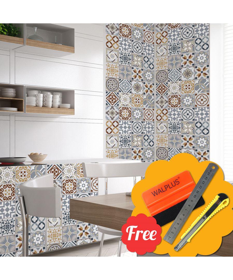 Image for Spanish Limestone Wall Tile Stickers 48pcs 15cm x 15cm