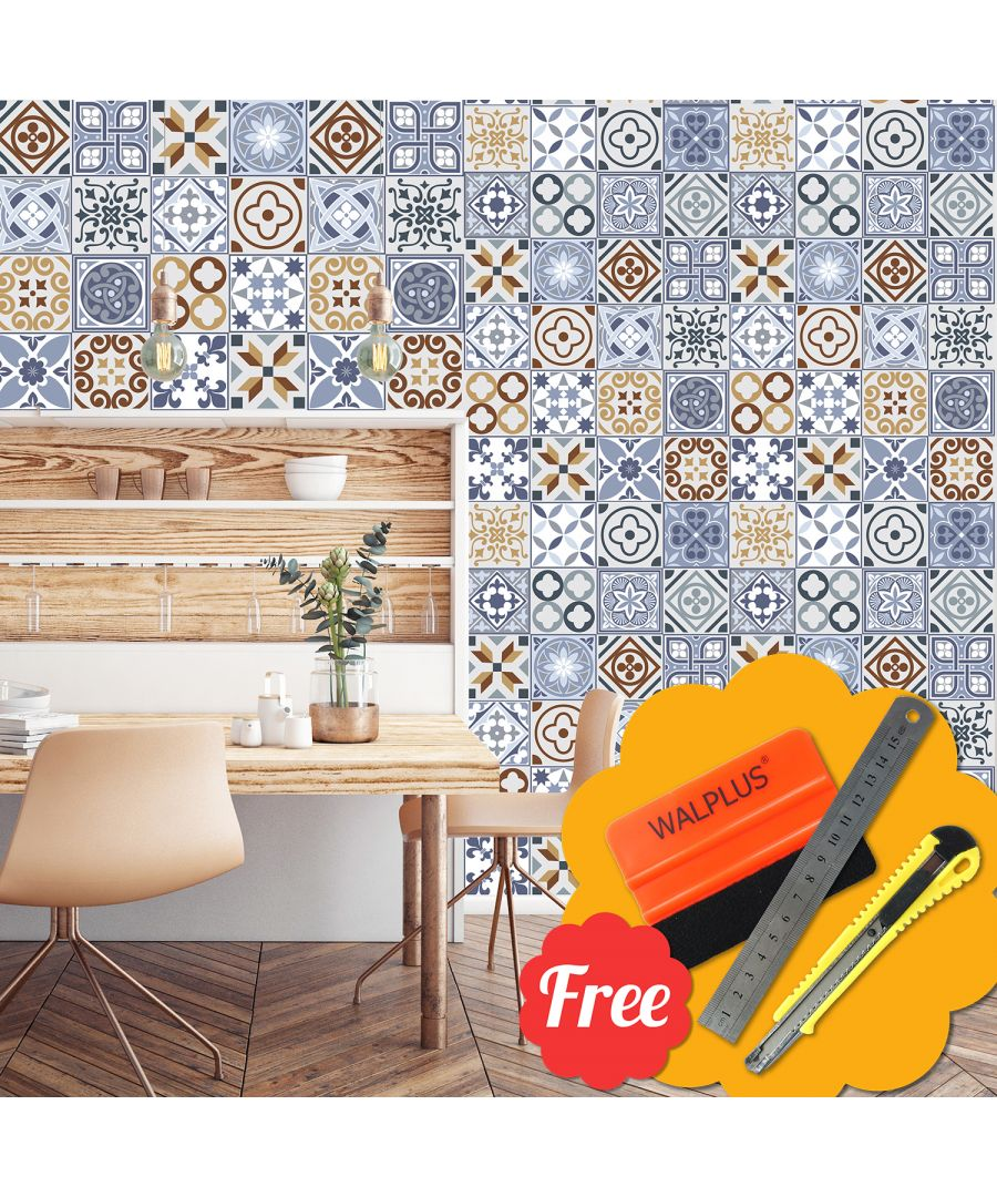 Image for Nyonya Brown & Blue Mix Mosaic Tile Wall Stickers 48pcs 15cm x 15cm
