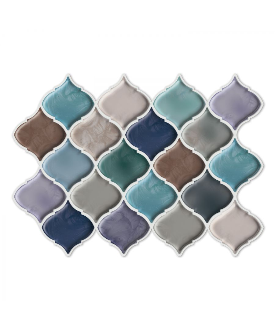 Image for WT3D2002 - Arabesque Green and Blue Glossy 3D Sticker Tile 11 x 8 inches