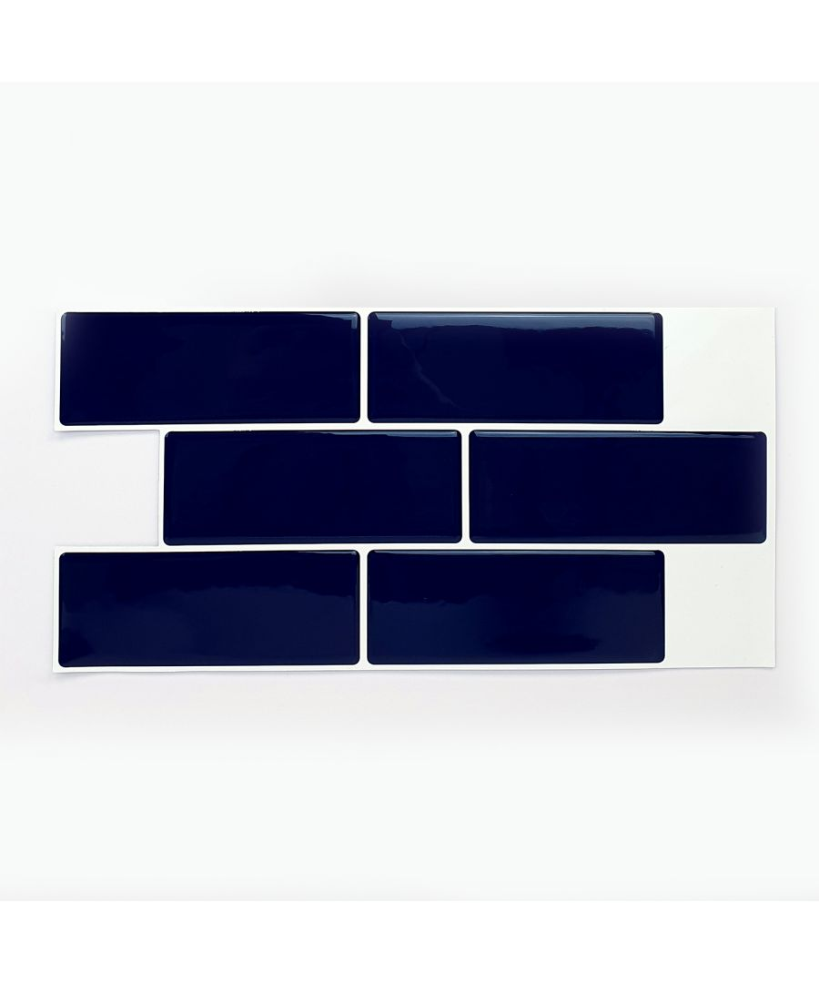 Image for Deep Blue Glossy 3D Metro Sticker Tiles 30 x 15cm Contemporary Wall Splashbacks Mosaics, Self adhesive, Glass Effect, Peel and Stick, Bathroom Decoration, DIY, Kitchen Decor