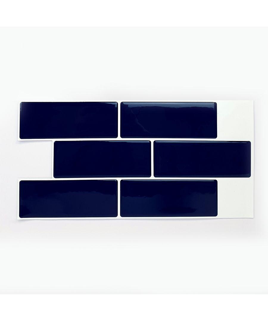 Image for Deep Blue Glossy 3D Metro Sticker Tiles 30 x 15cm Contemporary Wall Splashbacks Mosaics, Self adhesive, Glass Effect, Peel and Stick, Bathroom Decoration, DIY, Kitchen Decor