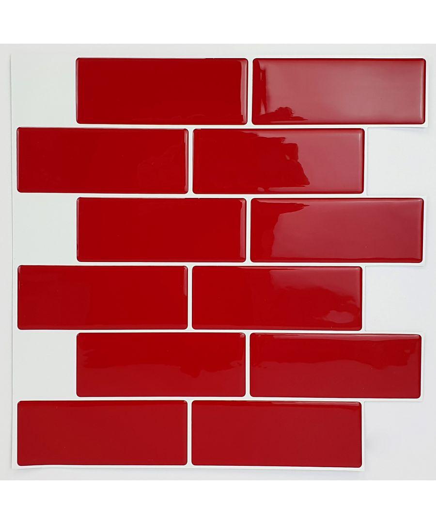 Image for Cherry Red Metro 3D Metro Sticker Tiles 30 x 30cm Retro Wall Splashbacks Mosaics, Self adhesive, Glass Effect, Peel and Stick, Bathroom Decoration, DIY, Kitchen D+®cor