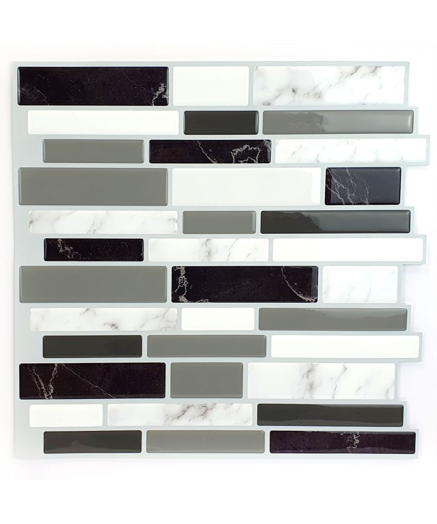 Image for Light and Dark Marble Glossy 3D Metro Sticker Tiles 30 x 30cm Premium Wall Splashbacks Mosaics, Self adhesive, Glass Effect, Peel and Stick, Bathroom Decoration, DIY, Kitchen D+®cor