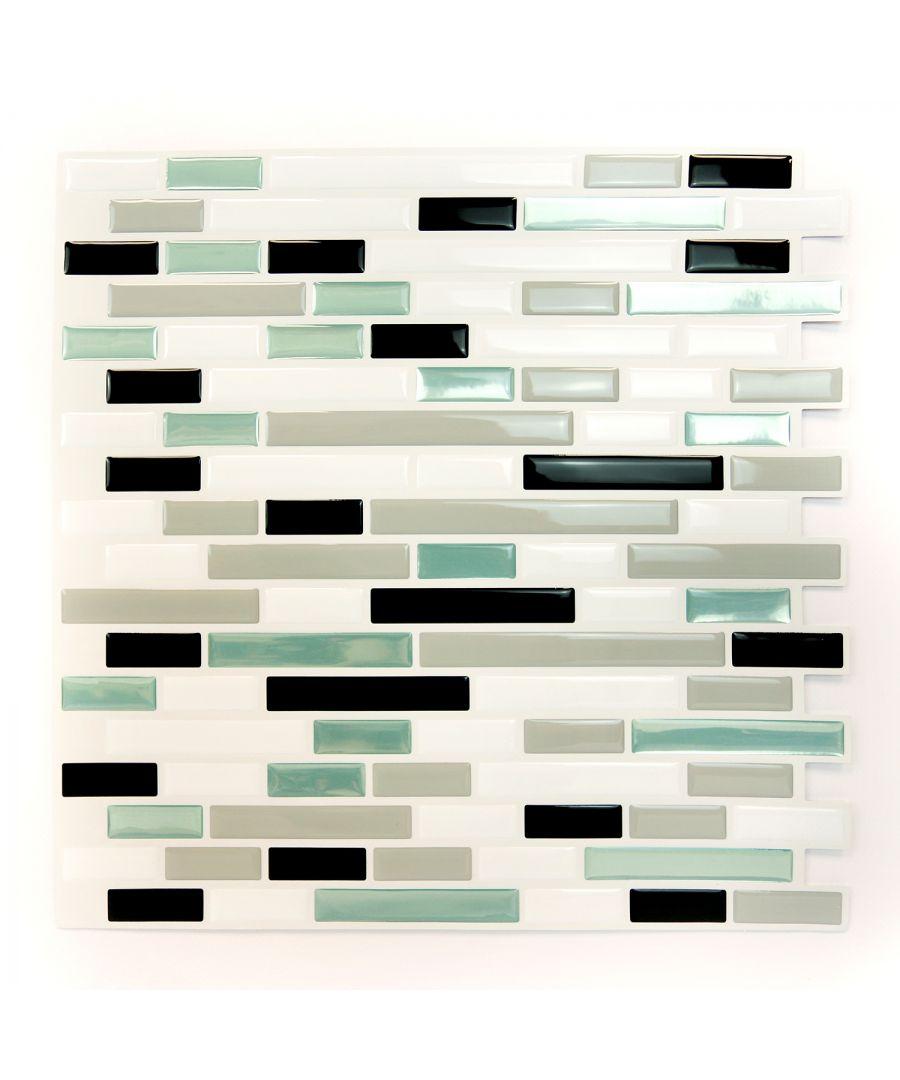 Image for Metalic Turquoise Mosaic Glossy 3D Metro Sticker Tiles 30 x 30cm Premium Wall Splashbacks Mosaics, Self adhesive, Glass Effect, Peel and Stick, Bathroom Decoration, DIY, Kitchen D+®cor