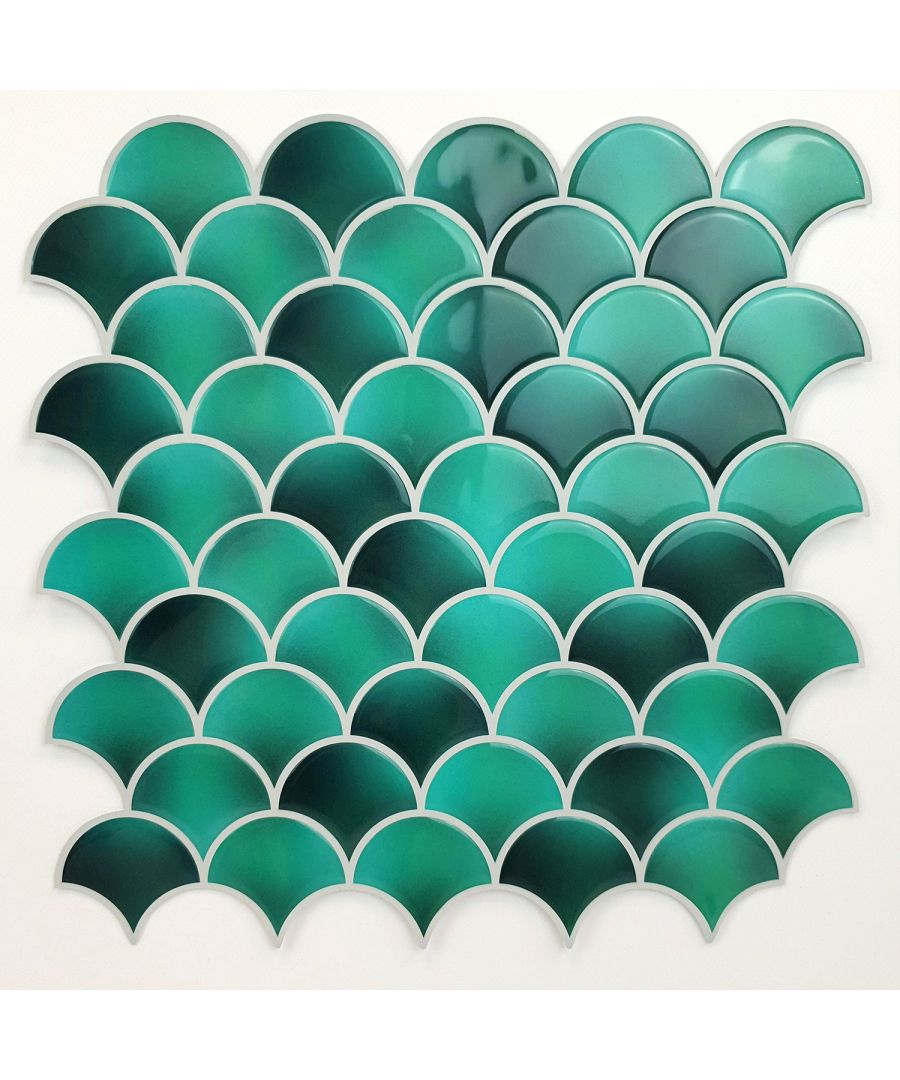 Image for Fresh Turquoise Glossy 3D Metro Sticker Tiles 30 x 30cm Contemporary Eclectic Wall Splashbacks Mosaics, Self adhesive, Glass Effect, Peel and Stick, Bathroom Decoration, DIY, Kitchen D+®cor