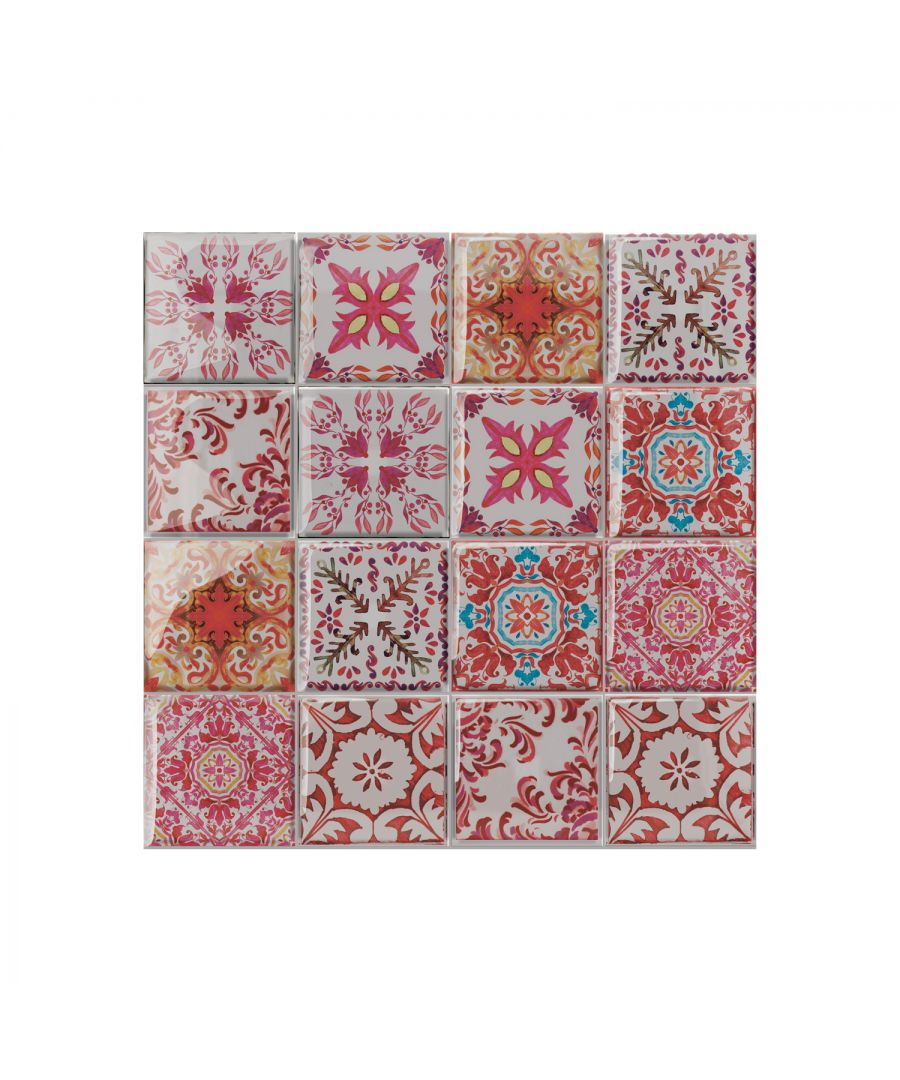 Image for WT3D3015 - Moroccan Rose Red Mosaic Glossy 3D Sticker Tile 15.4 cm (6 in) - 16pcs in a pack