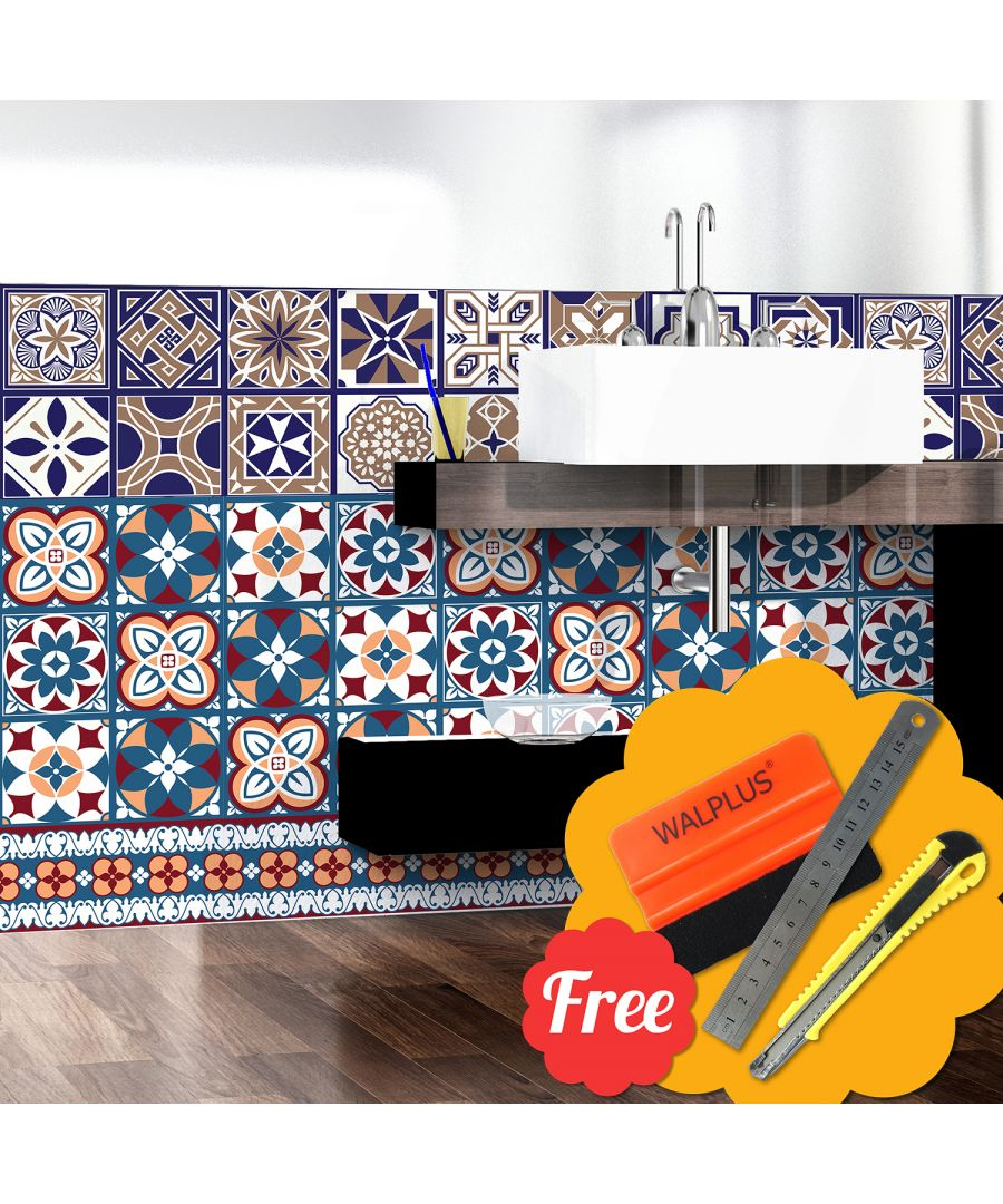 Image for Walplus Classic Blue Tile Wall Stickers 24pcs 20cm x 20cm