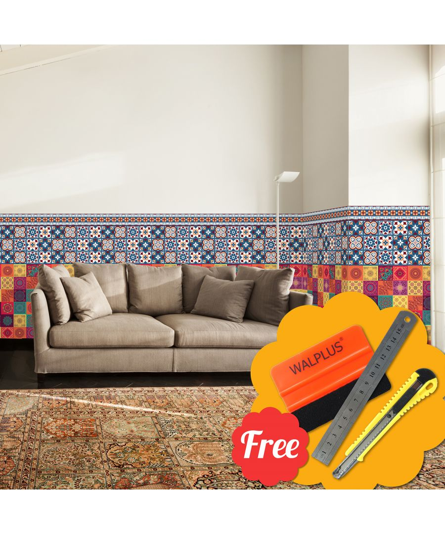Image for Taj Mahal Colourful Tiles Skirting Mix Stickers 24cm x 20cm x 20cm