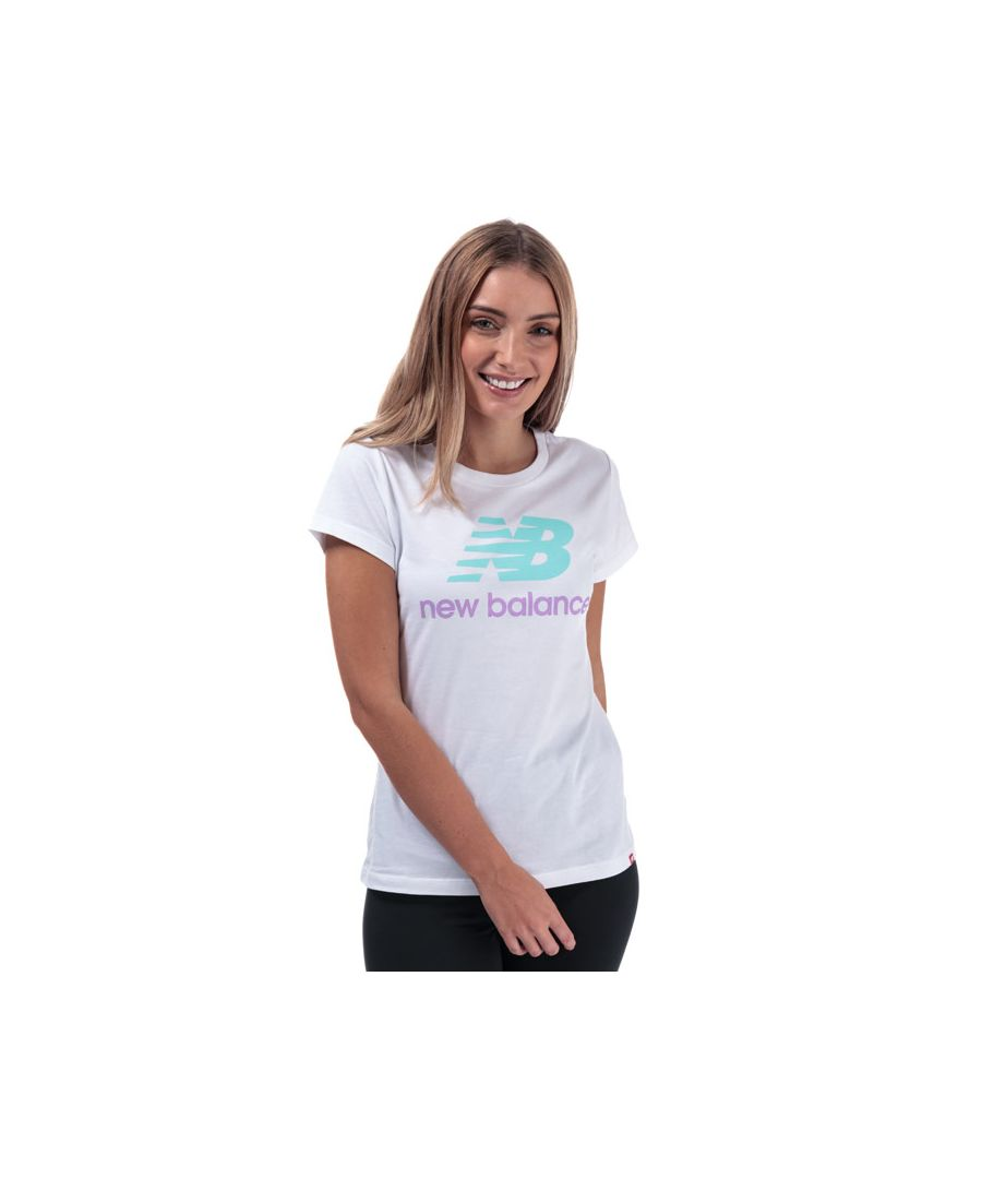 Image for Women's New Balance Essentials Stacked Logo T-Shirt in White