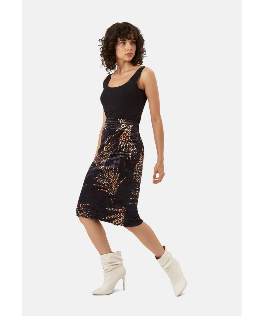 Image for WWS Pencil Velvet Animal Print Skirt in Black and Red