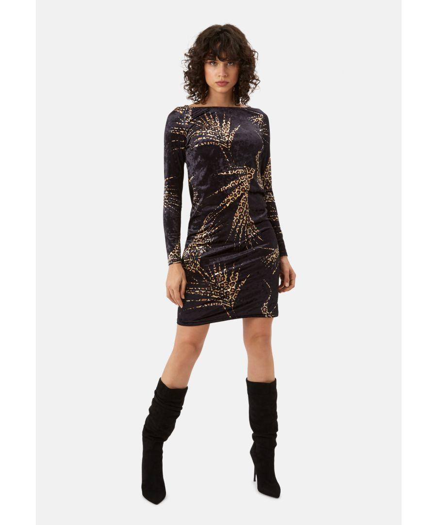 Image for Wild Side Sink Velvet Leopard Print Dress in Black