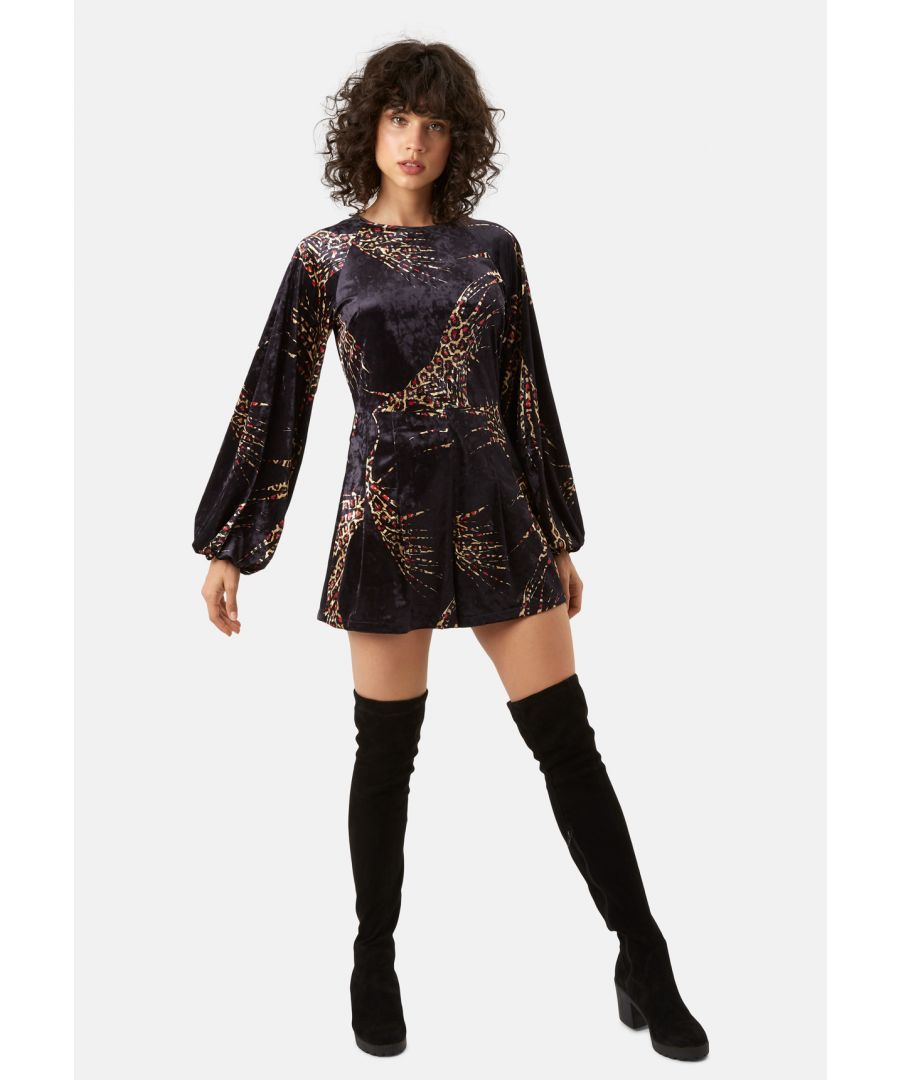 Image for Bambi Velvet Long Sleeve Playsuit in Black and Gold