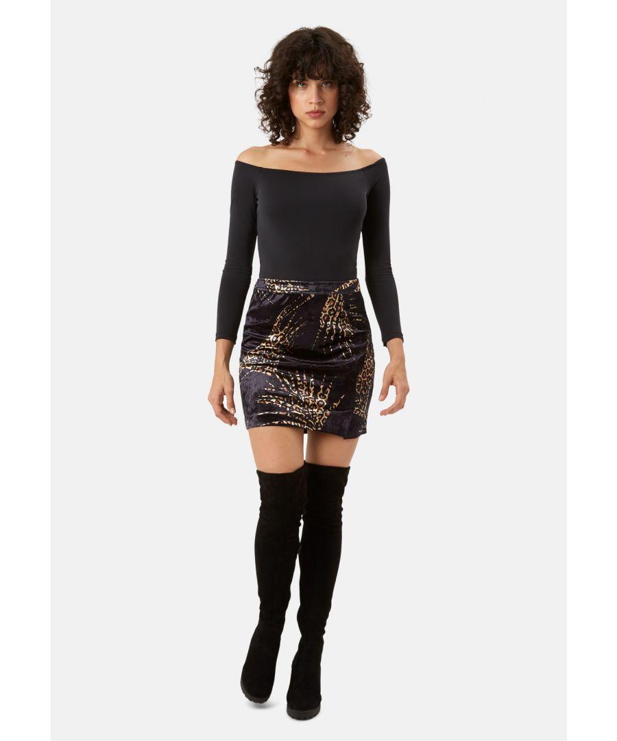 Image for WWS Mini A-Line Velvet Skirt in Black and Gold