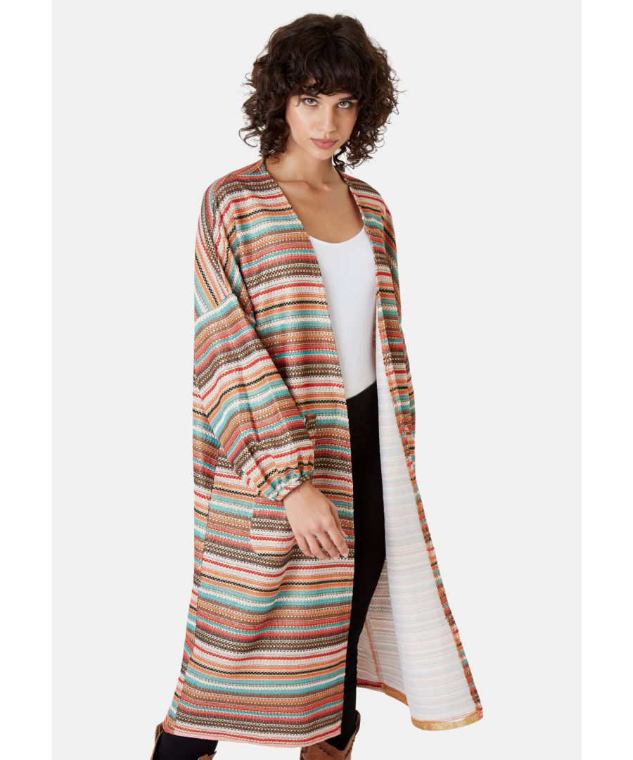 Image for Striped Long Sleeved Shrug Jacket in Multicoloured