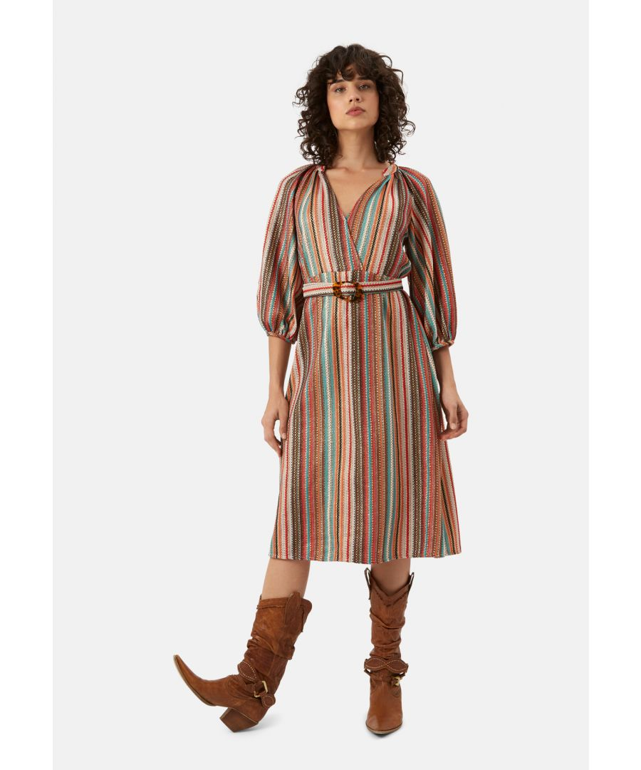 Image for Belt Up Midi Wrap Dress in Multicoloured
