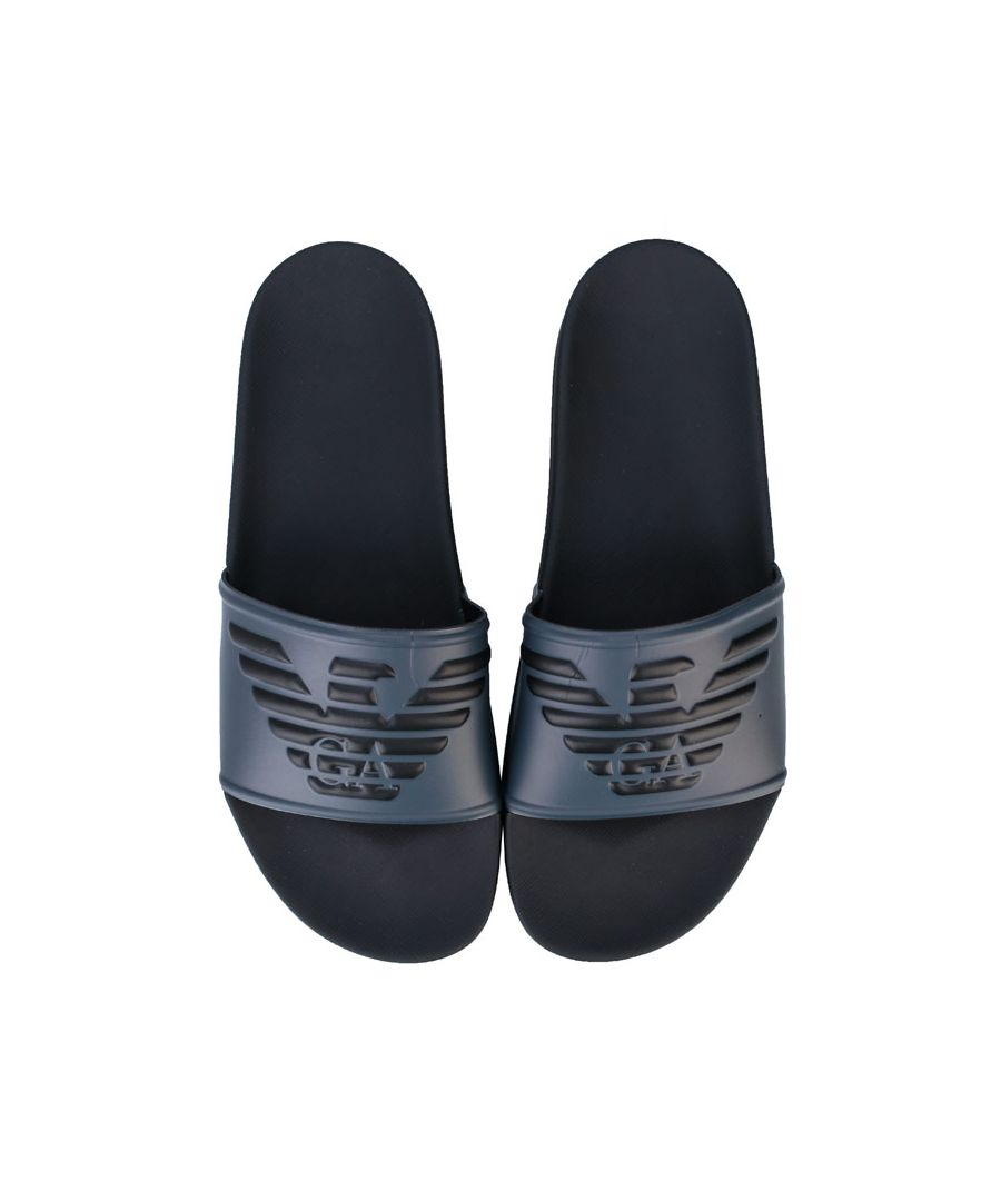 Image for Men's Armani Embossed Logo Slide Sandals in Grey