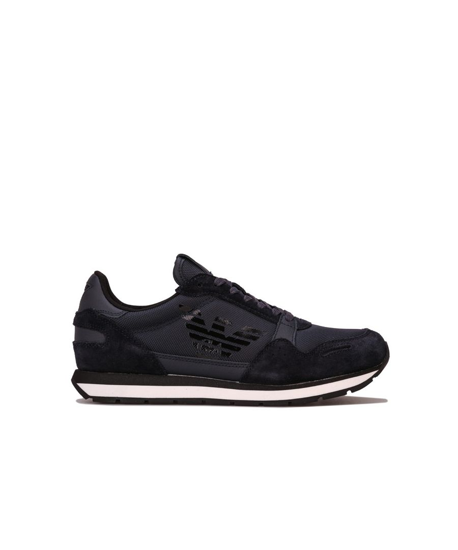 Image for Men's Armani Side Logo Trainers in Navy