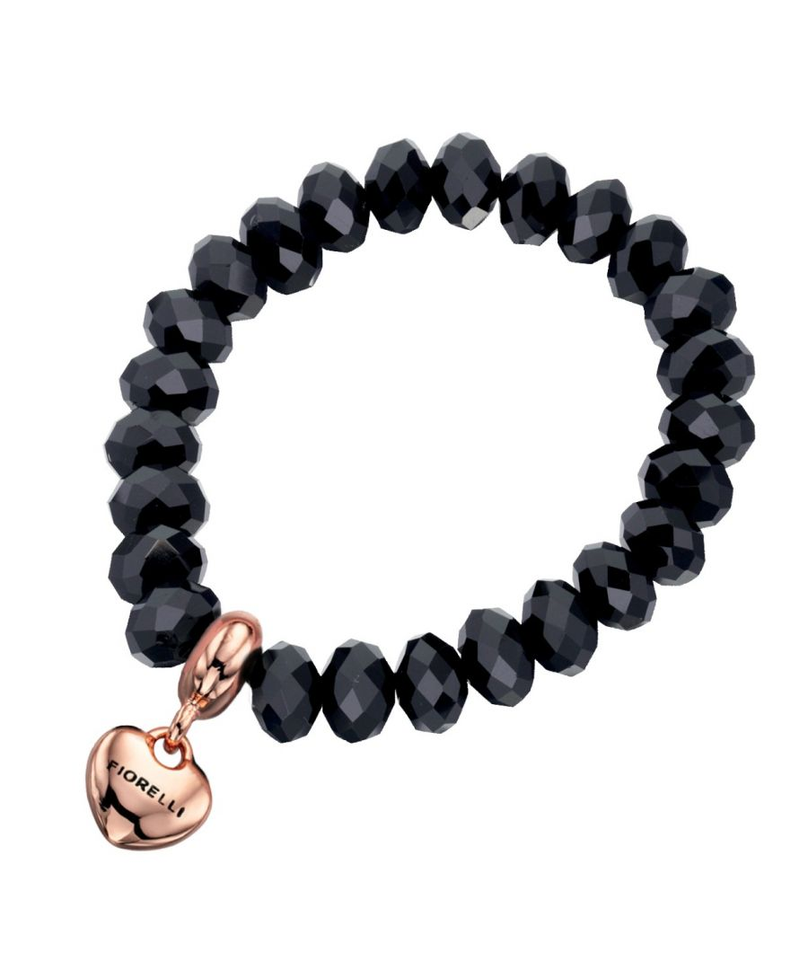 Image for Fiorelli Fashion Black Glass Bead & Rose Gold Plated Heart Charm Stretch Bracelet