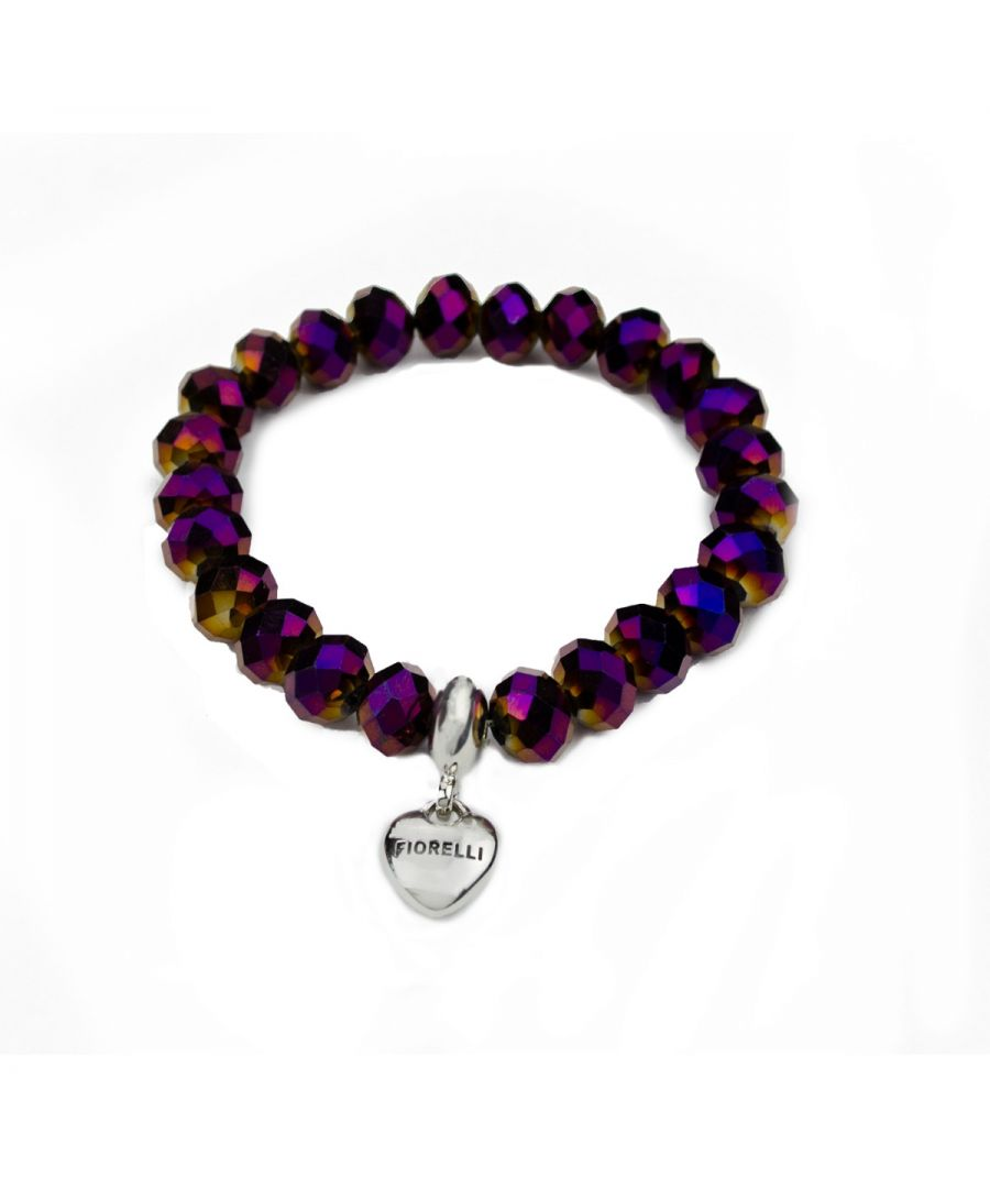 Image for Fiorelli Fashion Metallic Purple Faceted Bead & Imitation Rhodium Plated Heart Charm Stretch Bracelet