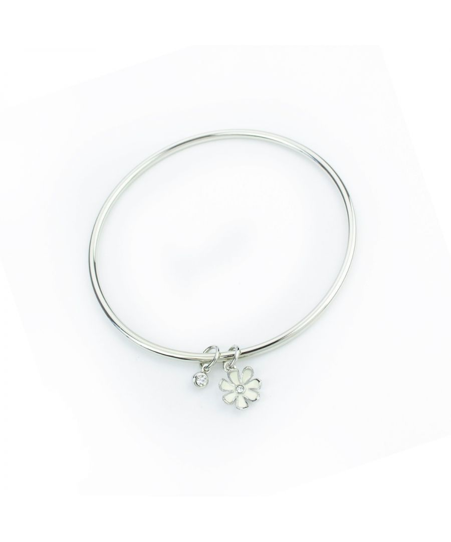 Image for Fiorelli Fashion Imitation Rhodium Plated Crystal & Flower Charm Bangle