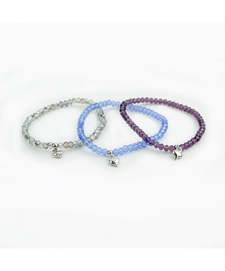 Image for Fiorelli Fashion Multipack of 3 Crystal Bead Heart Charm Stretch Bracelets