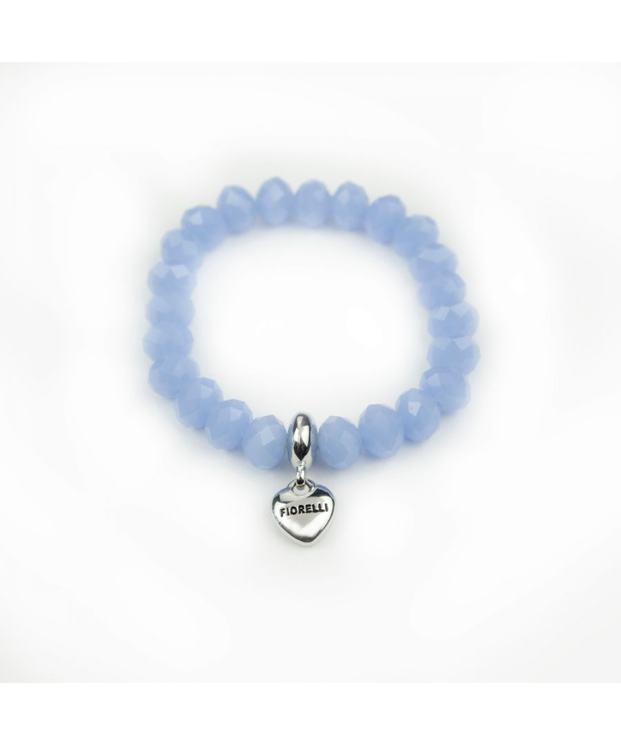 Image for Fiorelli Fashion Blue Glass Bead & Imitation Rhodium Plated Heart Charm Stretch Bracelet