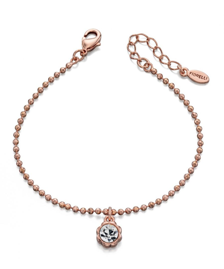 Image for Fiorelli Fashion Rose Gold Plated Crystal by Swarovski Flower Charm Bracelet 18cm + 3cm