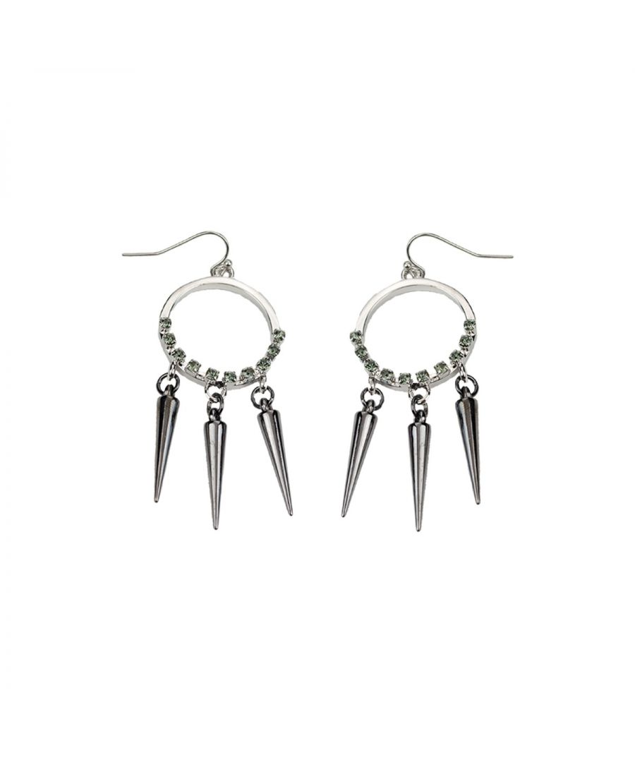 Image for Fiorelli Fashion Gunmetal & Imitation Rhodium Plated Spike Drop & Black Crystal Hook Earrings