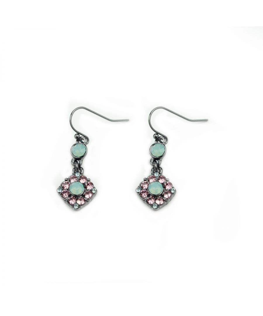 Image for Fiorelli Fashion Gunmetal Plated Pink & Mint Crystal by Swarovski Flower Hook Earrings