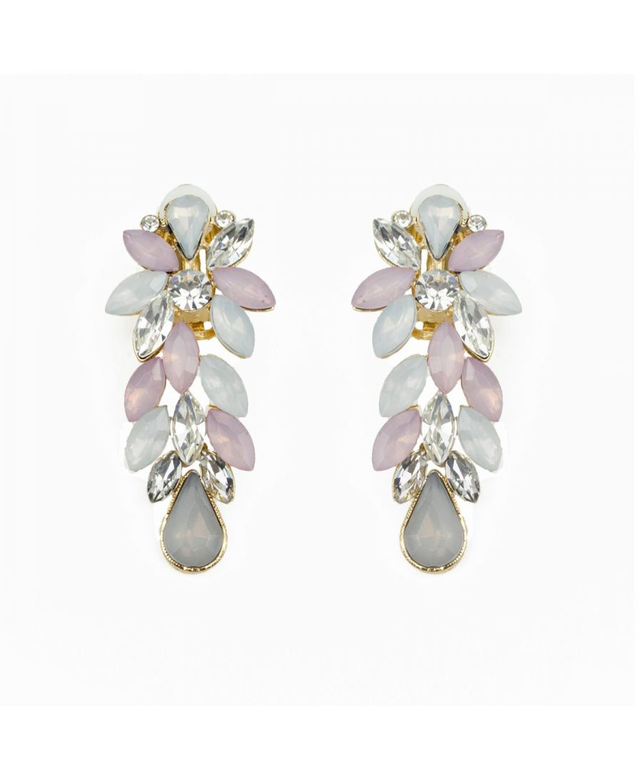Image for Fiorelli Fashion Gold Plated Grey Tone Crystal Cluster Clip On Earrings